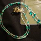 Blue Green Beaded Lanyard
