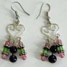 Multi-Color Heart & Bead Earrings