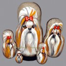 Shih Tzu Red/White on Russian Nesting Dolls. Dogs.