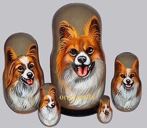 Papillon on Five Russian Nesting Dolls. Red/White. Dogs. #2.