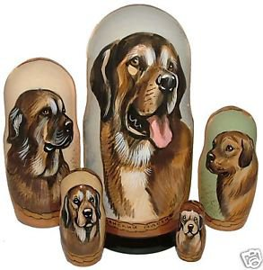Spanish Mastiff on Russian Nesting Dolls.  Dogs #2