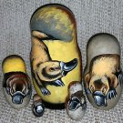 Platypus on Five Russian Nesting Dolls. Wild Life.
