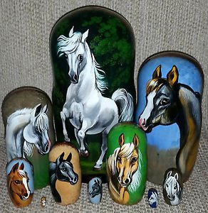 Arabian Horses on Russian Nesting Dolls. Set of Ten. White.