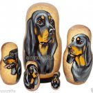 Black and Tan Coonhound on Russian Nesting Dolls. Dogs.