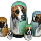 Tri-Color Harrier on Russian Nesting dolls. Dogs. #1