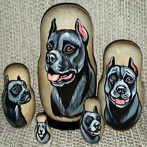 Pit Bull Terrier on Five Russian Nesting Dolls. Black. Dogs