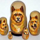 Australian Terrier on Russian Nesting Dolls. Dogs. #2.