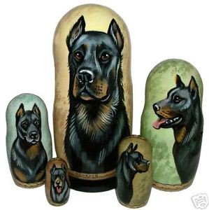 Beauceron on Russian Nesting Dolls.  Dogs. #1.