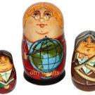 Geography Teacher on the Set of Three Russian Nesting Dolls.  Globe.