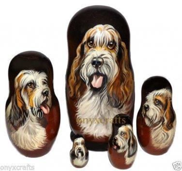 Grand Basset Griffon Vendeen on Five Russian Nesting Dolls. Dogs. #2.