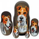 Wire Fox Terrier on Five Russian Nesting Dolls. Dogs.
