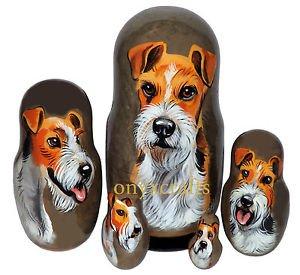 Wire Fox Terrier on Five Russian Nesting Dolls. Dogs.