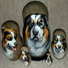 Tornjak on Five Russian Nesting Dolls. Dogs