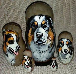 Tornjak on Five Russian Nesting Dolls. Dogs