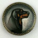 Doberman Pinscher on Russian Hand Painted Brooch. Dogs.