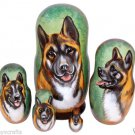 Akita on Five Russian Nesting Dolls. Dogs. #12