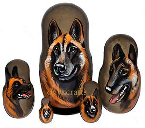 Belgian Shepherd on Five Russian Nesting Dolls. Dogs