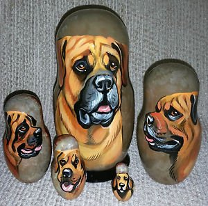 Tosa on Russian Nesting Dolls. Dogs.