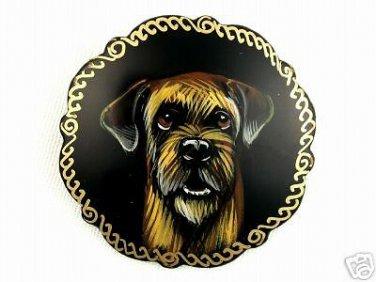Border Terrier on Russian Brooch. Dog.