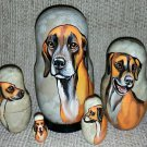 Sloughi on Five Russian Nesting Dolls. Dogs.