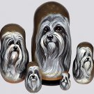 Lowchen on Five Russian Nesting Dolls. Dogs.