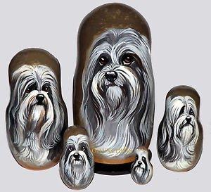 Lowchen on Five Russian Nesting Dolls. Dogs.