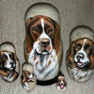 French Spaniel on Five Russian Nesting Dolls. Dogs.