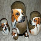 English Pointer on Five Russian Nesting Dolls. Dogs.