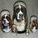 Drentsche Patrijshond on Five Russian Nesting Dolls. Dogs.