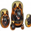 Belgian Tervuren on Five Russian Nesting Dolls. Dogs.