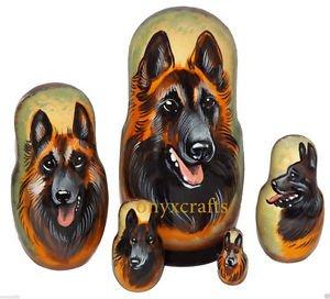 Belgian Tervuren on Five Russian Nesting Dolls. Dogs.