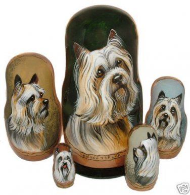 Silky Terrier on Five Russian Nesting Dolls.  Dogs.
