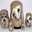 Sealyham Terrier on Five Russian Nesting Dolls. Dogs
