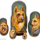 Australian Terrier on Five Russian Nesting Dolls. Dogs.