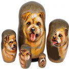 Norfolk Terrier on Five Russian Nesting Dolls. Dogs