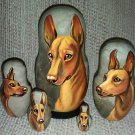 Cirneco dell'Etna on Five Russian Nesting Dolls. Dogs
