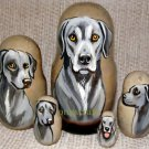 Texas Blue Lacy on Five Russian Nesting Dolls. Dogs.