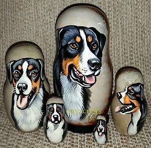 Appenzeller Sennenhunde Mountain Dog on Five Russian Nesting Dolls. Dogs.