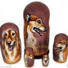 Borzoi/Russian Wolfhound on Five Russian Nesting Dolls. #22. Dogs