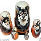 Finnish Lapphund on Five Russian Nesting Dolls. Dogs.