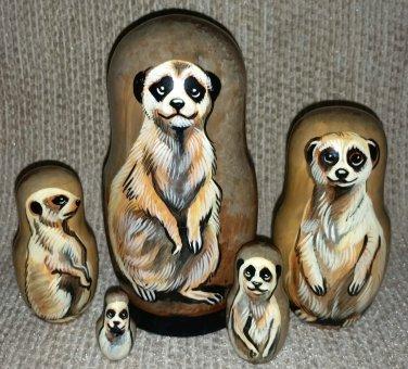 Meerkat on Five Russian Nesting Dolls. Wild Life. #12