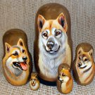 Shiba Inu on Five Russian Nesting Dolls. Dogs. #32