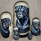 Black Pugs on Five Russian Nesting Dolls .Dogs.