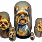 Yorkshire Terrier on Five Russian Nesting Dolls. Puppy Cut. Dogs.