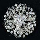 Clear Swarovski Crystal Round Flower Brooch Pin Bridal Floral