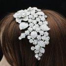 Tiara Bridal Headband Flower Wedding W/ Clear Swarovski Crystals