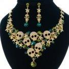 Unique Green Skull Star Necklace Earring Set W/ Swarovski Crystals 4 Halloween