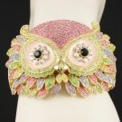 Swarovski Crystals High Quality Animal Pink Owl Bracelet Bangle Cuff