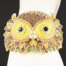 High Quality Brown Hooter Bird Owl Bracelet Bangle Cuff  Swarovski Crystals