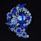 "New Blue Flower Pendant Brooch Pin 3.1"" W/ Rhinestone Crystals"